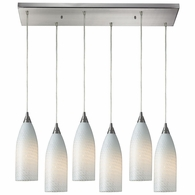 522-6RC-WS ELK Lighting Cilindro 6-Light Rectangular Pendant Fixture in Satin Nickel with White Glass