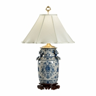 5221 Wildwood Porcelain Hand Painted Blue White With Dragons Lamp