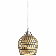 528-1GLD ELK Lighting Fusion 1-Light Mini Pendant in Satin Nickel with Gold Leaf Mosaic Glass