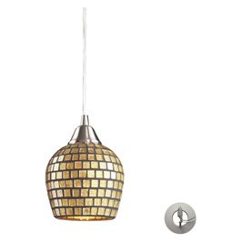 528-1GLD-LA ELK Lighting Fusion 1-Light Mini Pendant in Satin Nickel with Gold Leaf Mosaic Glass - Includes Adapter Kit