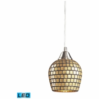 528-1GLD-LED ELK Lighting Fusion 1-Light Mini Pendant in Satin Nickel with Gold Leaf Mosaic Glass - Includes LED Bulb