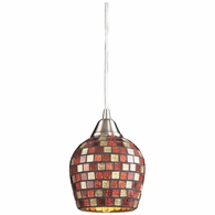 528-1MLT ELK Lighting Fusion 1-Light Mini Pendant in Satin Nickel with Multi-colored Mosaic Glass