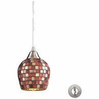 528-1MLT-LA ELK Lighting Fusion 1-Light Mini Pendant in Satin Nickel with Multi-colored Mosaic Glass - Includes Adapter Kit