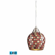 528-1MLT-LED ELK Lighting Fusion 1-Light Mini Pendant in Satin Nickel with Multi-colored Mosaic Glass - Includes LED Bulb