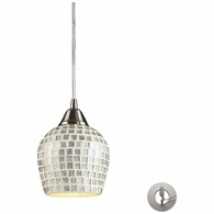 528-1SLV-LA ELK Lighting Fusion 1-Light Mini Pendant in Satin Nickel with Silver Mosaic Glass - Includes Adapter Kit