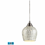 528-1SLV-LED ELK Lighting Fusion 1-Light Mini Pendant in Satin Nickel with Silver Mosaic Glass - Includes LED Bulb
