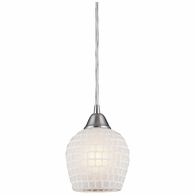 528-1WHT ELK Lighting Fusion 1-Light Mini Pendant in Satin Nickel with White Mosaic Glass