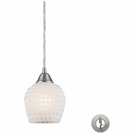 528-1WHT-LA ELK Lighting Fusion 1-Light Mini Pendant in Satin Nickel with White Mosaic Glass - Includes Adapter Kit