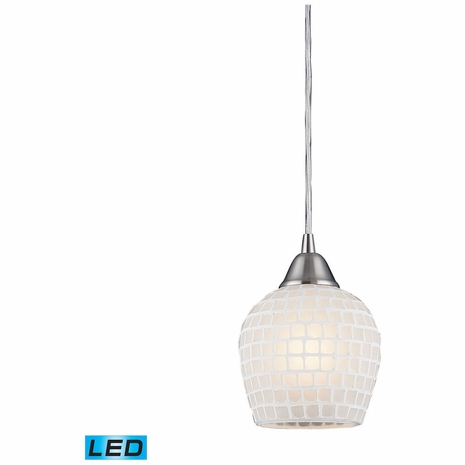 528-1WHT-LED ELK Lighting Fusion 1-Light Mini Pendant in Satin Nickel with White Mosaic Glass - Includes LED Bulb