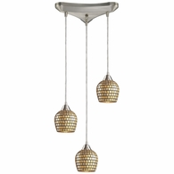 528-3GLD ELK Lighting Fusion 3-Light Triangular Pendant Fixture in Satin Nickel with Gold Leaf Mosaic Glass