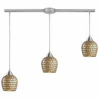 528-3L-GLD ELK Lighting Fusion 3-Light Linear Pendant Fixture in Satin Nickel with Gold Leaf Mosaic Glass