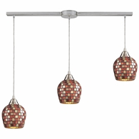 528-3L-MLT ELK Lighting Fusion 3-Light Linear Pendant Fixture in Satin Nickel with Multi-colored Mosaic Glass