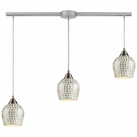 528-3L-SLV ELK Lighting Fusion 3-Light Linear Pendant Fixture in Satin Nickel with Silver Mosaic Glass