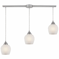 528-3L-WHT ELK Lighting Fusion 3-Light Linear Pendant Fixture in Satin Nickel with White Mosaic Glass