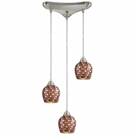 528-3MLT ELK Lighting Fusion 3-Light Triangular Pendant Fixture in Satin Nickel with Multi-colored Mosaic Glass