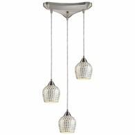 528-3SLV ELK Lighting Fusion 3-Light Triangular Pendant Fixture in Satin Nickel with Silver Mosaic Glass