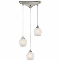 528-3WHT ELK Lighting Fusion 3-Light Triangular Pendant Fixture in Satin Nickel with White Mosaic Glass