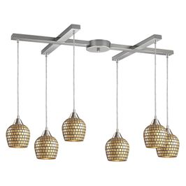 528-6GLD ELK Lighting Fusion 6-Light H-Bar Pendant Fixture in Satin Nickel with Gold Leaf Mosaic Glass