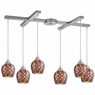528-6MLT ELK Lighting Fusion 6-Light H-Bar Pendant Fixture in Satin Nickel with Multi-colored Mosaic Glass