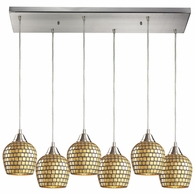 528-6RC-GLD ELK Lighting Fusion 6-Light Rectangular Pendant Fixture in Satin Nickel with Gold Leaf Mosaic Glass