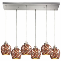 528-6RC-MLT ELK Lighting Fusion 6-Light Rectangular Pendant Fixture in Satin Nickel with Multi-colored Mosaic Glass