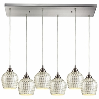 528-6RC-SLV ELK Lighting Fusion 6-Light Rectangular Pendant Fixture in Satin Nickel with Silver Mosaic Glass