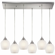 528-6RC-WHT ELK Lighting Fusion 6-Light Rectangular Pendant Fixture in Satin Nickel with White Mosaic Glass