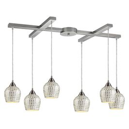 528-6SLV ELK Lighting Fusion 6-Light H-Bar Pendant Fixture in Satin Nickel with Silver Mosaic Glass