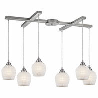 528-6WHT ELK Lighting Fusion 6-Light H-Bar Pendant Fixture in Satin Nickel with White Mosaic Glass