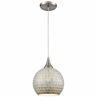 529-1SLV ELK Lighting Fusion 1-Light Mini Pendant in Satin Nickel with Silver Mosaic Glass