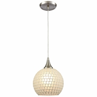 529-1WHT ELK Lighting Fusion 1-Light Mini Pendant in Satin Nickel with White Mosaic Glass