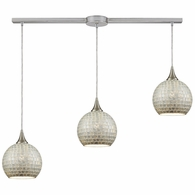 529-3L-SLV ELK Lighting Fusion 3-Light Linear Mini Pendant Fixture in Satin Nickel with Silver Mosaic Glass