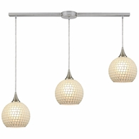 529-3L-WHT ELK Lighting Fusion 3-Light Linear Mini Pendant Fixture in Satin Nickel with White Mosaic Glass