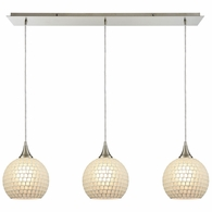 529-3LP-WHT ELK Lighting Fusion 3-Light Linear Mini Pendant Fixture in Satin Nickel with White Mosaic Glass