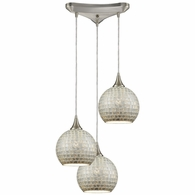 529-3SLV ELK Lighting Fusion 3-Light Triangular Pendant Fixture in Satin Nickel with Silver Mosaic Glass