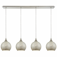 529-4LP-SLV ELK Lighting Fusion 4-Light Linear Pendant Fixture in Satin Nickel with Silver Mosaic Glass