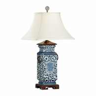 5294 Wildwood Porcelain Hand Painted Blue And White Heralds Lamp