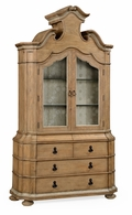 530069-VTO Jonathan Charles Fine Furniture William Yeoward Collected - Country House Chic Oulton Vintage Oak Cabinet With Glass Doors & Glass Shelves