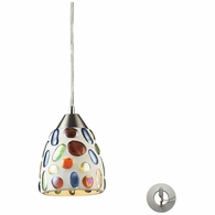 542-1-LA ELK Lighting Gemstone 1-Light Mini Pendant in Satin Nickel with Sculpted Multi-color Glass - Includes Adapter Kit