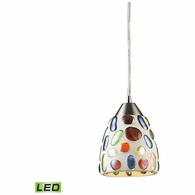 542-1-LED ELK Lighting Gemstone 1-Light Mini Pendant in Satin Nickel with Sculpted Multi-color Glass - Includes LED Bulb