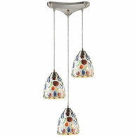 542-3 ELK Lighting Gemstone 3-Light Triangular Pendant Fixture in Satin Nickel with Sculpted Multi-color Glass