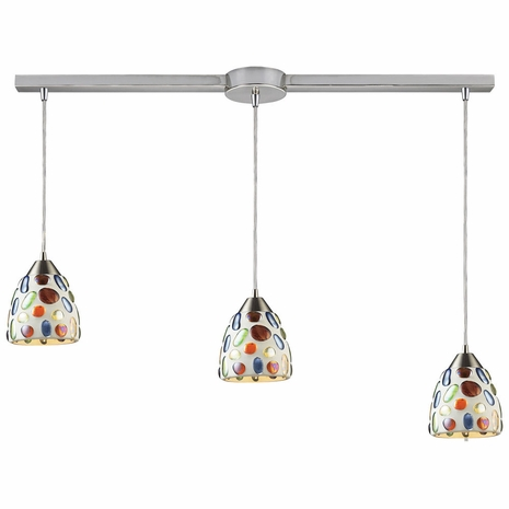 542-3L ELK Lighting Gemstone 3-Light Linear Pendant Fixture in Satin Nickel with Sculpted Multi-color Glass