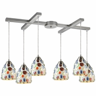 542-6 ELK Lighting Gemstone 6-Light H-Bar Pendant Fixture in Satin Nickel with Sculpted Multi-color Glass