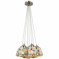 542-7SR ELK Lighting Gemstone 7-Light Nesting Pendant Fixture in Satin Nickel with Sculpted Multi-color Glass