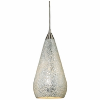 546-1SLV-CRC ELK Lighting Curvalo 1-Light Mini Pendant in Satin Nickel with Silver Crackle Glass