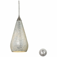 546-1SLV-CRC-LA ELK Lighting Curvalo 1-Light Mini Pendant in Satin Nickel with Silver Crackle Glass - Includes Adapter Kit