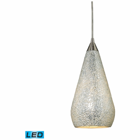546-1SLV-CRC-LED ELK Lighting Curvalo 1-Light Mini Pendant in Satin Nickel with Silver Crackle Glass - Includes LED Bulb