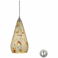 546-1SLVM-CRC-LA ELK Lighting Curvalo 1-Light Mini Pendant in Satin Nickel with Silver Multi Crackle Glass - Includes Adapter Kit
