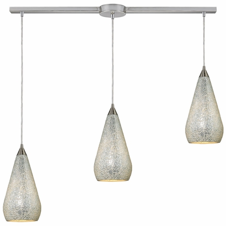 546-3L-SLV-CRC ELK Lighting Curvalo 3-Light Linear Pendant Fixture in Satin Nickel with Silver Crackle Glass