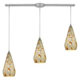 546-3L-SLVM-CRC ELK Lighting Curvalo 3-Light Linear Pendant Fixture in Satin Nickel with Silver Multi Crackle Glass